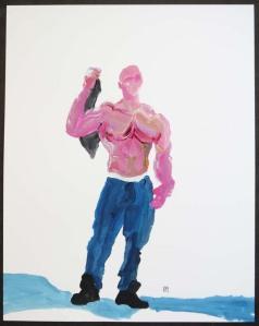 Pink Muscleman Holding T-shirt