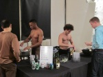 Shirtless bartenders, my friend Bennie on left